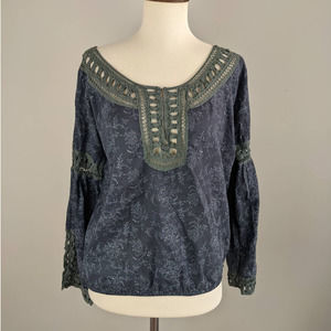 Free People XS Blue Boat Neck Green Lace Boho Top
